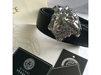 """Chrome medusa head large sizes 34""""-42"""" mens black leather belt versace boxed with papers"""