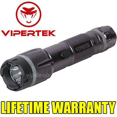 VIPERTEK VTS-T03 Metal 980 MV Stun Gun Rechargeable LED Light Taser Case Gray