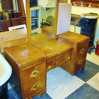 Antique Art Deco Style Waterfall  Vanity with Mirror