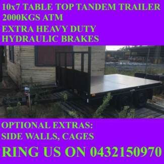 10x7 table top flatbed tandem trailer 2000kgs also have 10x6 10x5