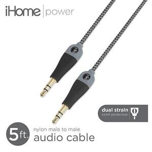 iHome 5 ft. Double Injected Nylon Audio Cable with Enhanced Strain Relief - 3.5mm Male-Male - Black
