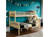 ⚡️⚡️STOCK CLEARANCE⚡️⚡️ DOUBLE BOTTOM & SINGLE TOP STRONG QUALITY TRIO WOODEN BUNK BED FRAME