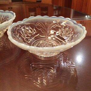 Pair of Water Lily & Cattails Opalescent Dishes