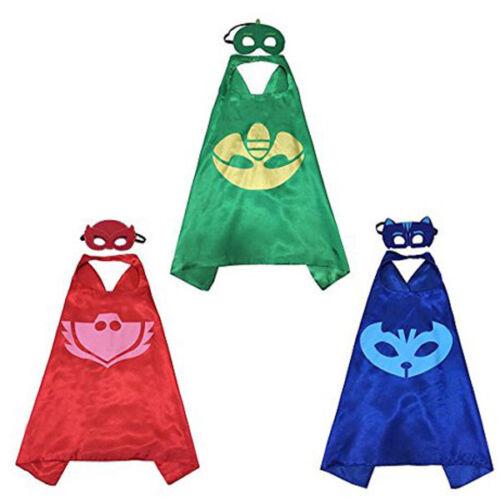 3 Set Superhero Capes with Felt Masks for Kids Dress Up Cost