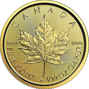 1/10 oz 2018 Gold Maple Leaf Coin - RCM .9999 Gold - Royal Ca...