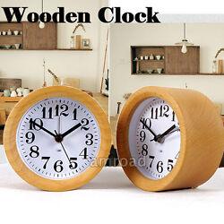 NEW Wooden Small Circular Silent Quiet Digital Table Desk Wood Alarm Clock