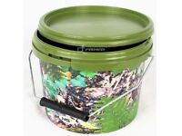 10 Litre NGT square Camo Bucket with Metal Handle.