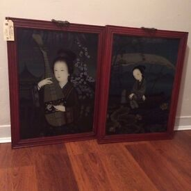 Antique China Painting Pair RRP £850