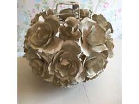 Heavy Cream Shabby Chic Roses Ceiling Light