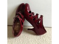 Office shoes. Burgundy patent leather.