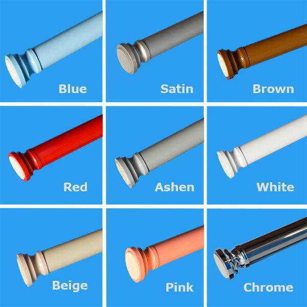 105-180cm Brown Spring Loaded Extendable Telescopic Shower Curtain Rail Rod Pole Rods Rails