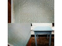 Embossed coffee table in fusion mineral paint