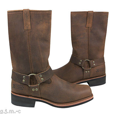 Xelement 1556 Mens Craze Horse Brown Genuine Leather Harness Motorcycle Boots