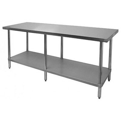 Thunder Group Slwt42496f Flat Top Work Table Stainless Steel 24 X 96 X 34