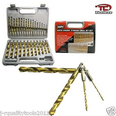 "30pc Quick Change Titanium Drill Bit Set 1/4"" Hex Shank Jobber Length Power Tool"