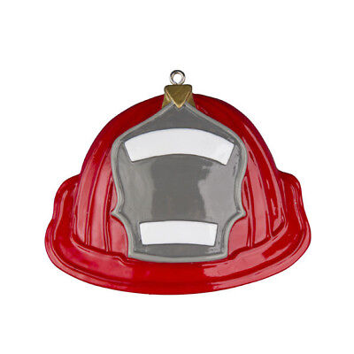 (Fireman Fire Fighter Hat Personalized Christmas Tree Ornament)