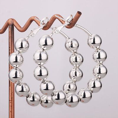 Wholesale Price Solid Silver Jewelry Prayer Bead Woman Earrings Hoop 8Mm E188
