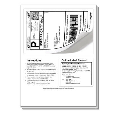 200 Click Ship Labels With Tear Off Receipt Usa Made. Print Postage At Home.