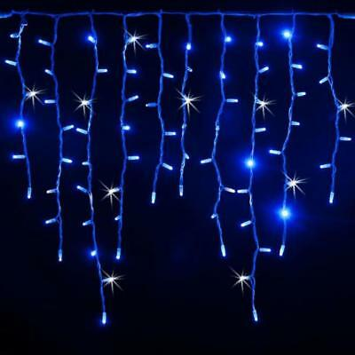 Stringa 5 mt tenda a pioggia 200 luci di Natale a led blu con flash bianco ghiac