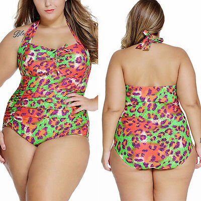 1PC Neon Green Leopard Print Halter Top Monokini Bikini Swimsuit Swimwear XL-4XL