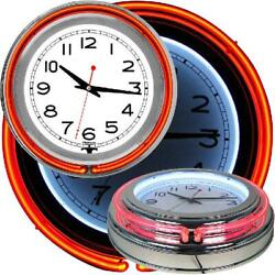 Retro Neon Wall Clock 14 In. Double Ring Orange Outer White Inner Home Game Room