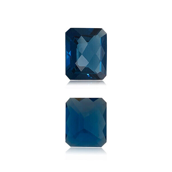 4.14-5.06 Cts of 11x9 mm AAA Emerald Checkered London Blue Topaz Loose Gemstone