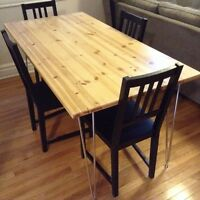 Solid Pine Refurbished Table on Stainless Hairpin Legs