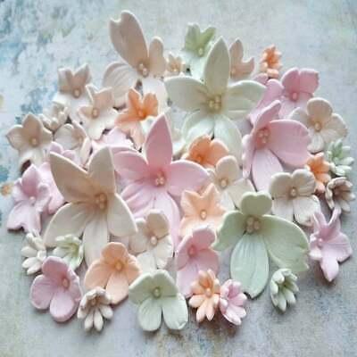 36 essbare Zuckerfondant Hochzeitstorte Blumen Topper Dekorationen Pastellfarben