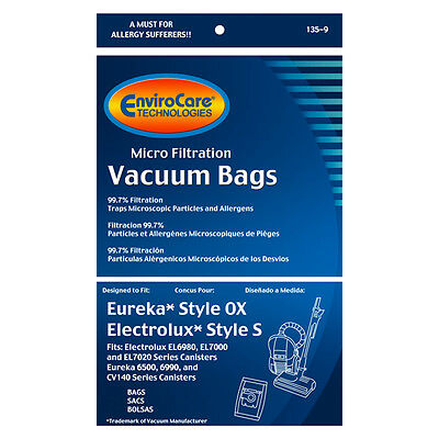 Eureka OX &  Electrolux S Canister Vacuum Bags * Fits Harmon