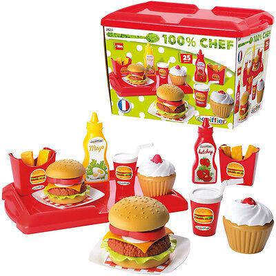 Ecoiffier Hamburger Set + Zubehör Kinderküche Spiellebensmittel Essen Spielzeug