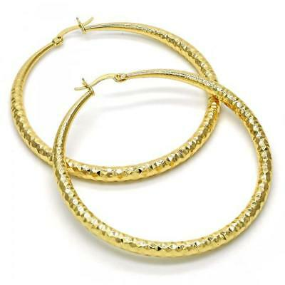 Womens Real Gold Filled Medium Size Diamond Cut Hoop Earrings (60mm x 4mm) 4mm Medium Hoop Earrings