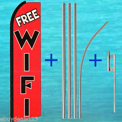 Free Wifi Wi Fi Flutter Flag 15 Pole Mount Kit Feather Swooper Banner 1615