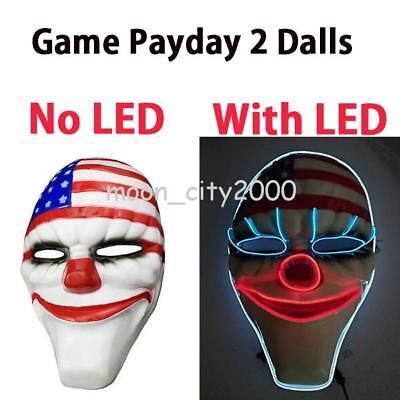 Halloween 2 Online (Online PAYDAY 2 Dallas Mask Heist Joker Costume Props Cosplay LED Mask)
