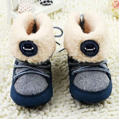 - Baby Kid Boy Winter Warm Booties Snow Boot Newborn Soft Sole Crib Shoes 0-18M