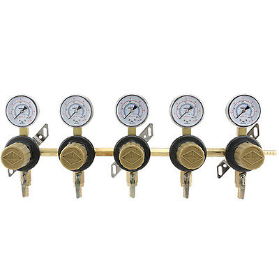 5-way Secondary Air Regulator - Polycarbonate Bonnet - Co2 To 5 Draft Beer Kegs