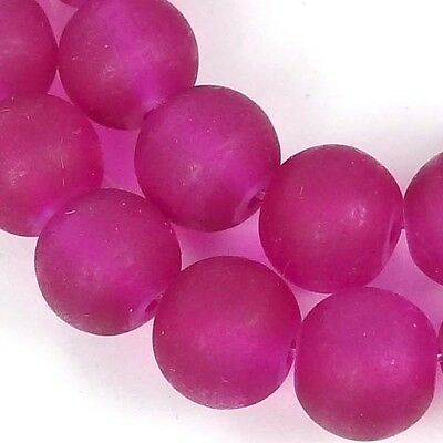 25 Frosted Sea Glass Round / Rocaille Beads Matte - Cerise / Fuchsia 10mm