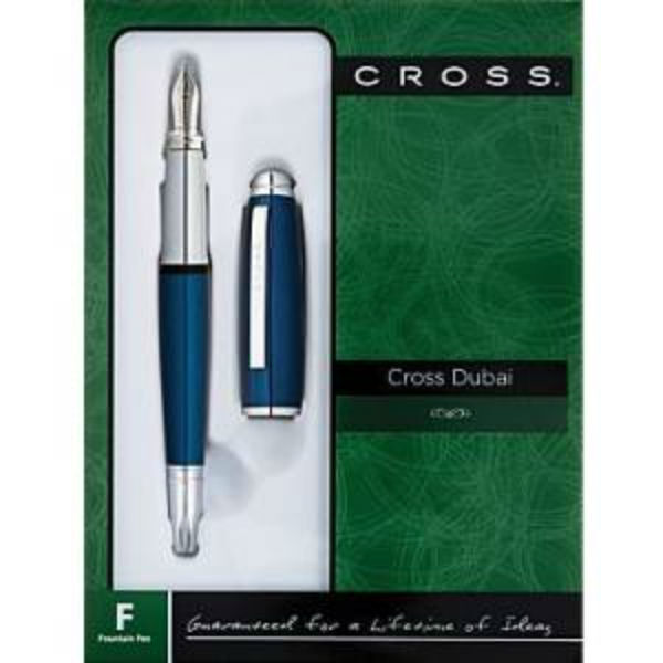 Cross Dubai Blue Lacquer/Chrome Appointments Fountain Pen with Medium Nib