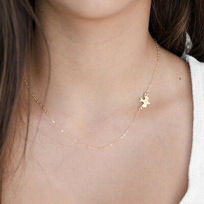 - Fashion Jewelry Gold/Silver Choker Peace Dove Statement Bib Charm Chain Necklace