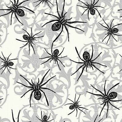 Halloween Sophisticated Spiders Black Spider Damask Cotton Fabric Fat Quarter](Sophisticated Halloween)