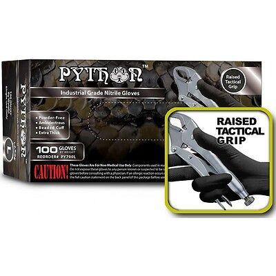 PYTHON Black Nitrile Gloves, 7 mil, Powder Free, Case of 1000, Size L Large
