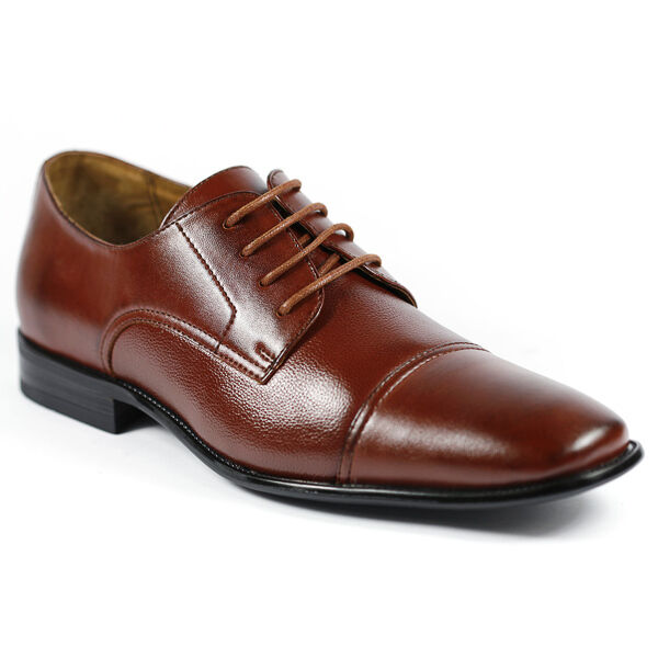 Delli Aldo M-19235 Brown Men's Lace Up Cap Toe Dress Shoes