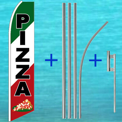 Pizza Flutter Flag Pole Mount Kit Tall Curved Advertising Sign Feather Banner