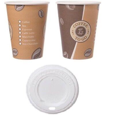 Kaffeebecher 300ml Hartpapier Pappbecher Cups Coffee to go 0,3l mit/ohne Deckel  Becher Deckel