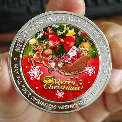 Merry Christmas Santa Claus 1 oz .999 Fine Silver Round Bar Bullion Xmas -