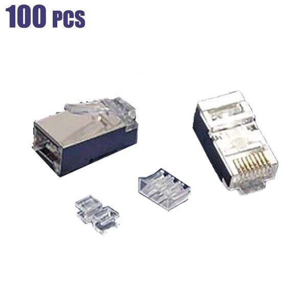 100x Cat6A RJ45 Network LAN Ethernet Shielded Plug Connector For Solid Wire Gold