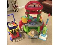 Play kitchen with food, utensils, trolley, ELC accessories, ELC vacuum cleaner
