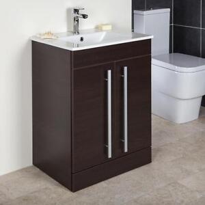 600mm chestnut floor standing bathroom vanity cabinet unit for Floor standing bathroom cupboard