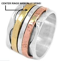 3 TONE Handmade SPINNING RING 925 STERLING SILVER RING s.9.5.