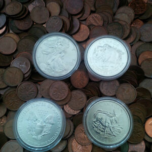 Silver/Copper - 4 x Silver 1 Oz Coins and