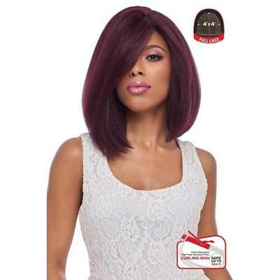 4x4 Base (4x4 MULTI PART LACE WIG, SWISS SILK BASE LACE NATURAL SHORT STRAIGHT (FLS08))